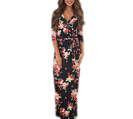 Maxi Dress Women Half Sleeve Print Bandage V-Neck 3D Beach Sundress Vestidos Black S
