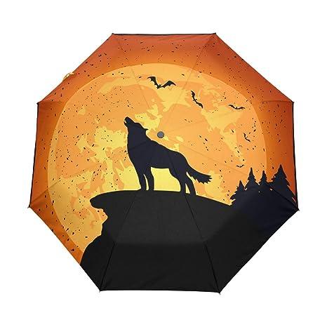 COOSUN Lobo de Halloween automático 3 plegable del paraguas del parasol Color # 001