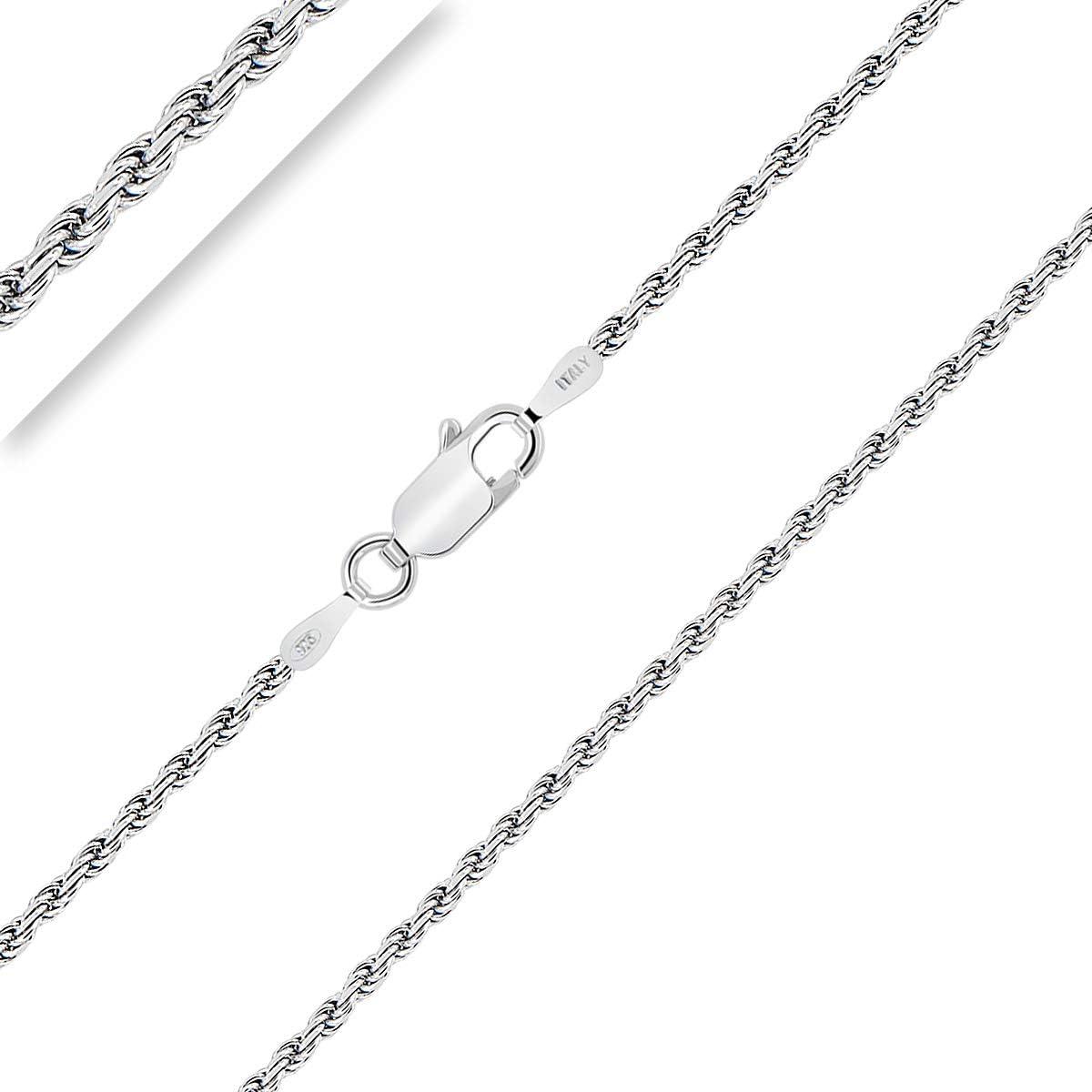 PLANETYS Cha/îne Argent 925//1000 Rhodi/é Maille For/çat Diamant/ée 1 mm 40-45-50-55-60-65-70 cm