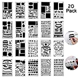 niceeshop(TM) 20 Pack Bullet Journal Stencil Set Plastic Template DIY Drawing Planner Journal/Notebook/Diary/Scrapbook/Art Craft Projects/Schedule Book 4x7 Inch