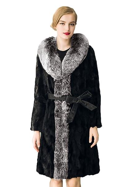Cerui Mujer cuello de piel abrigo de visón de piel de visón abrigo de piel párrafo Largo 3XL: Amazon.es: Ropa y accesorios