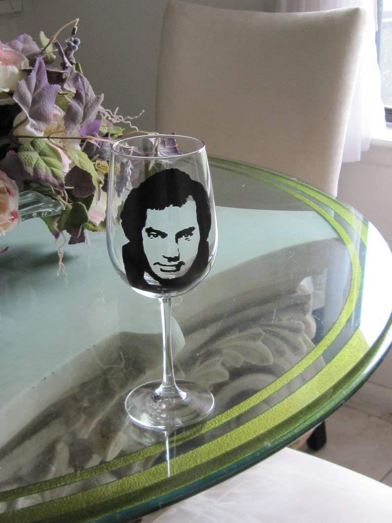 NEIL DIAMOND Hand Painted Wine Glass