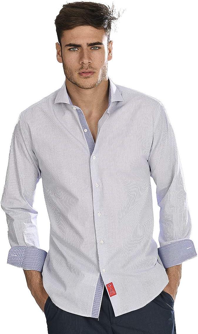 Camisa Manga Larga Blanca de Vestir, Slim fit, con Cuadros ...
