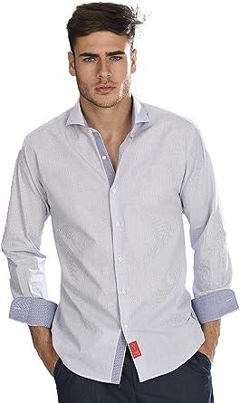Camisa Manga Larga Blanca de Vestir, Slim fit, con Cuadros Finos en Color Azul Marino para Hombre - 3_M, Azul Marino: Amazon.es: Ropa y accesorios