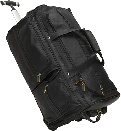 David King Leather 20 Rolling Duffel Bag in Black