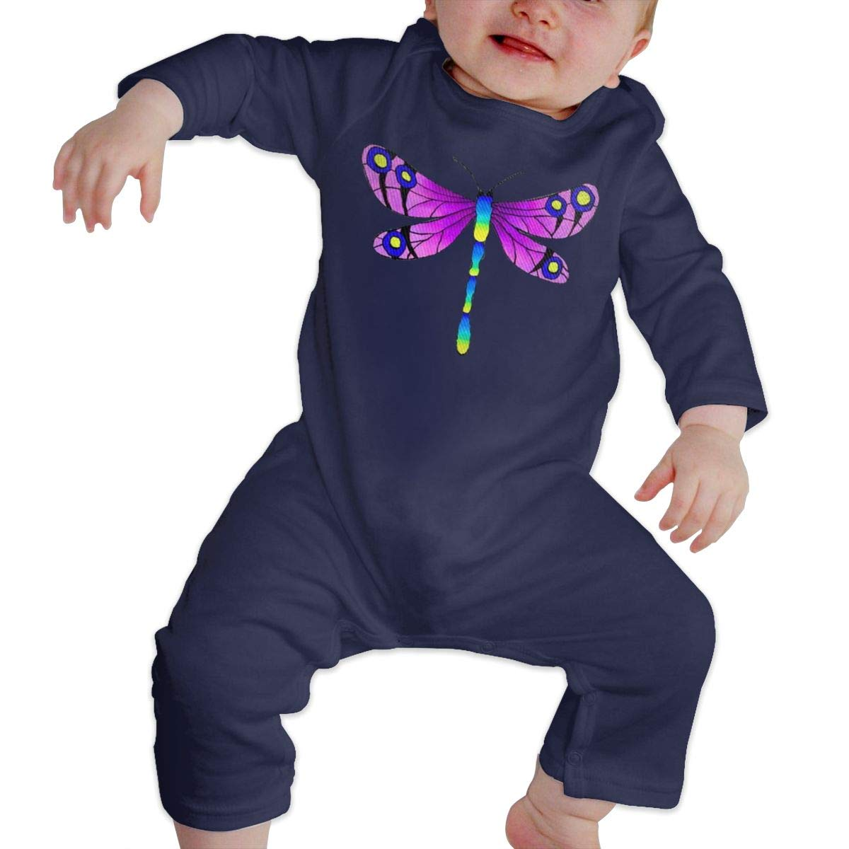 SININIDR Newborn Jumpsuit Infant Baby Girls Colorful Dragonfly Long-Sleeve Bodysuit Playsuit Outfits Clothes Black