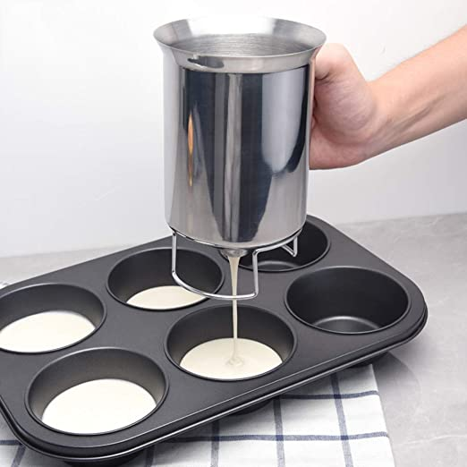 Muffins-Cooking Crepes Forart Newest Improved Pancake Cupcake Batter Dispenser Tool Stainless Steel-Professional Kitchen Tool for Baking Waffles Cupcakes