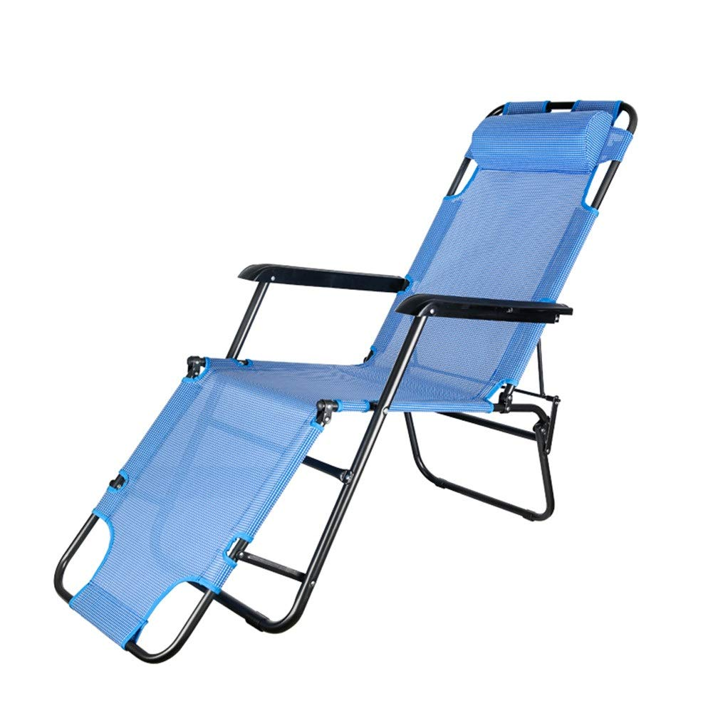 Gravity Reclining Relaxer Chair, Portable Folding Ultra Light with A Headrest, Perfect for Garden/Camping/Travel/Fishing/Hiking/Picnic/Park/Outdoors (Color : Blue)