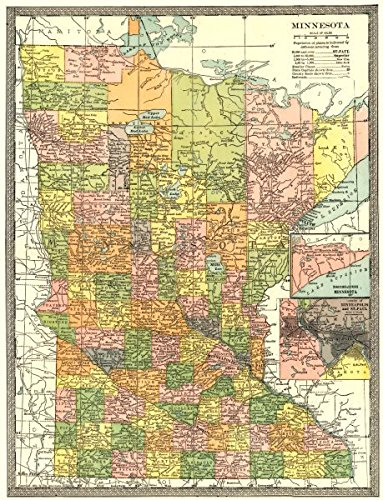 Amazoncom MINNESOTA State Map Counties Inset Minneapolis St - Vintage minneapolis map