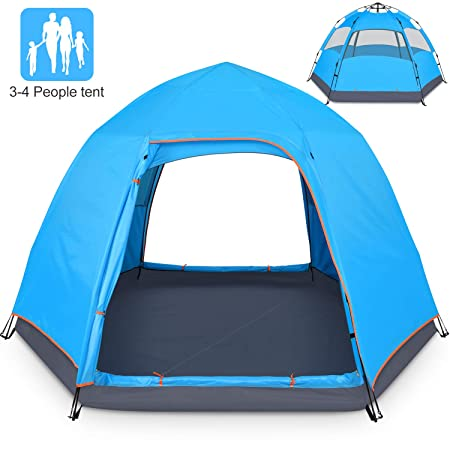 BATTOP 3-4 Person Tent for Camping Double Layer Family Camping Tent for 4 Seasons Waterproof with Instant Setup