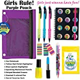 Kids Themed Stationary Accessories-Pencils, Pens, Erasers & 1 Secret Surprise Sack (TM) - Unique Back to School Supplies, Stocking Stuffers, & Easter Basket Fillers (Girls Rule - Purple Pouch)