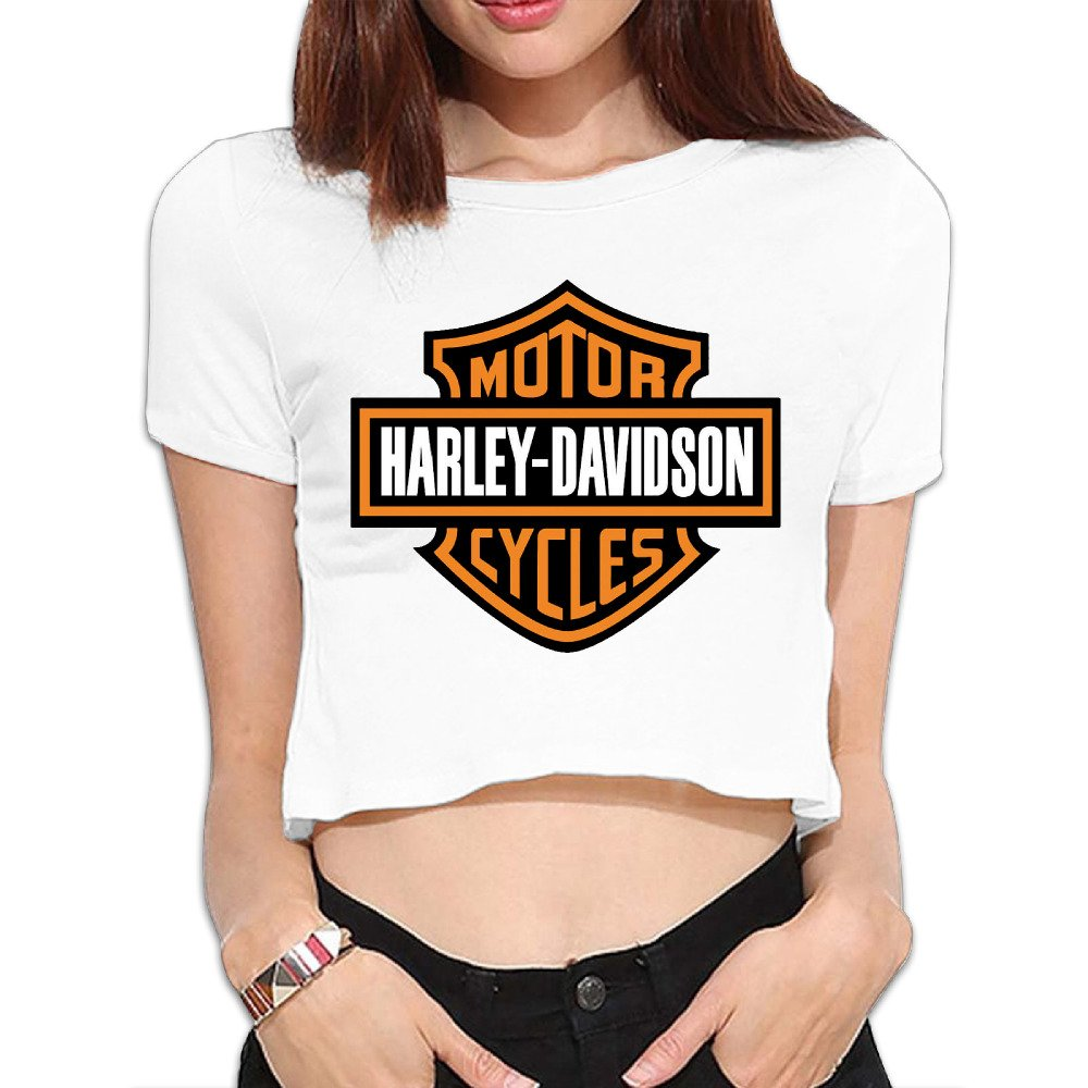 Womens Harley Davidson Logo 100% Cotton Crop Top T-Shirts Black