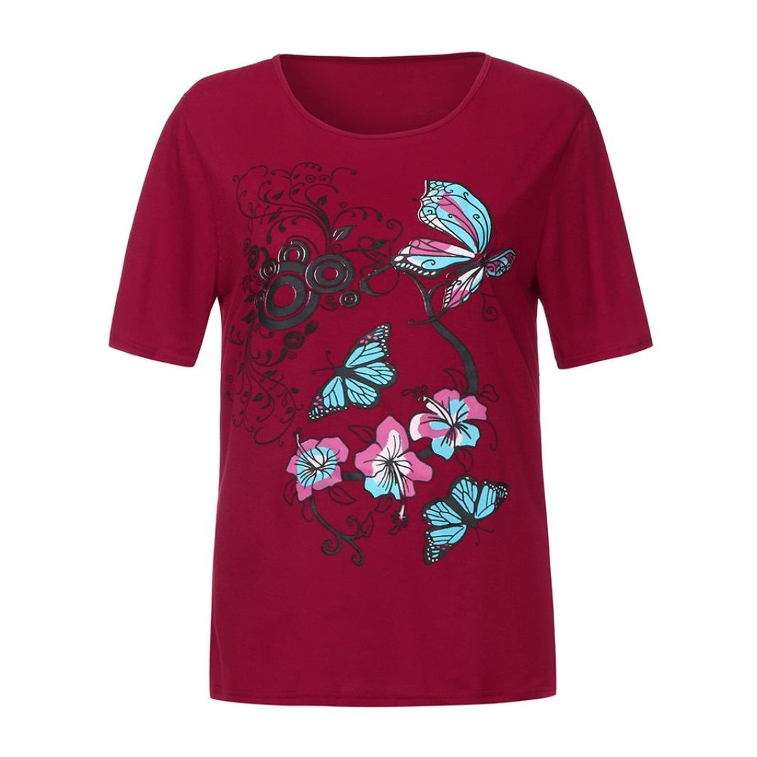 iOPQO 2018 Lady Butterfly Print Short-Sleeved Tunic Tops Blouse T-Shirt (S-L2)