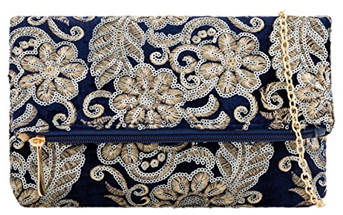 Navy HandBags Sequins Clutch Girly Velvet Bag wvXqdOx7