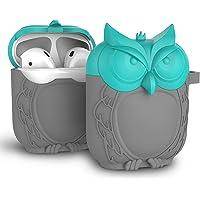 MAS CARNEY AirPods Protecteur Étui Creative Hibou Boîtier de Silicone AirPods Compatible avec Les Airpods 1 et 2 d'origine Apple [ Avant LED Non Visible]