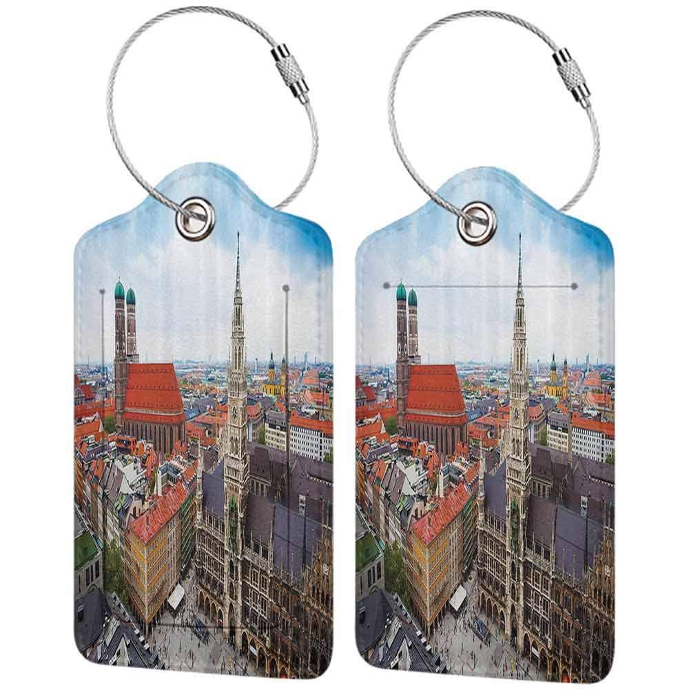 Durable luggage tag Wanderlust Decor Collection City Centre View of Marienplatz New Town Hall Glockenspiel Facade Rooftop Sightseeing Image Unisex Grey Orange W2.7 x L4.6
