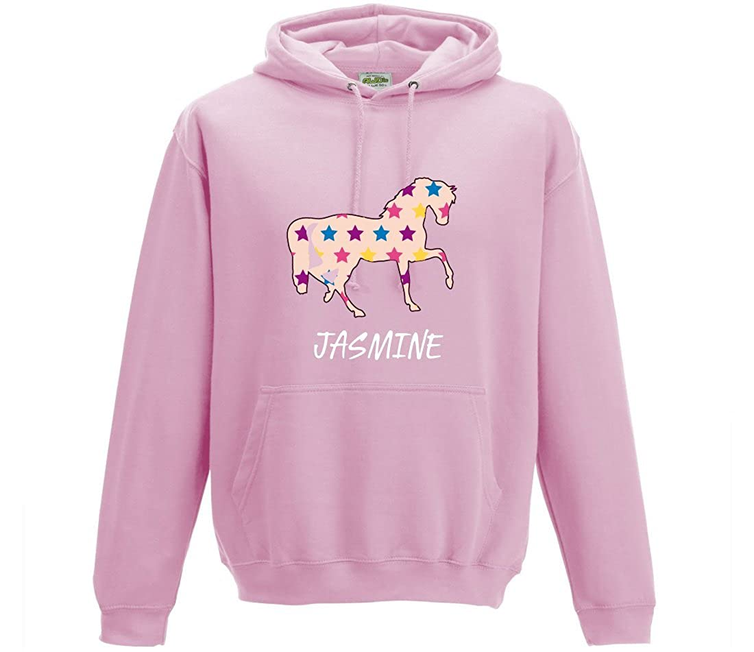 iLeisure Girls Personalised Horse Hoodie with Stars Various Colours Available