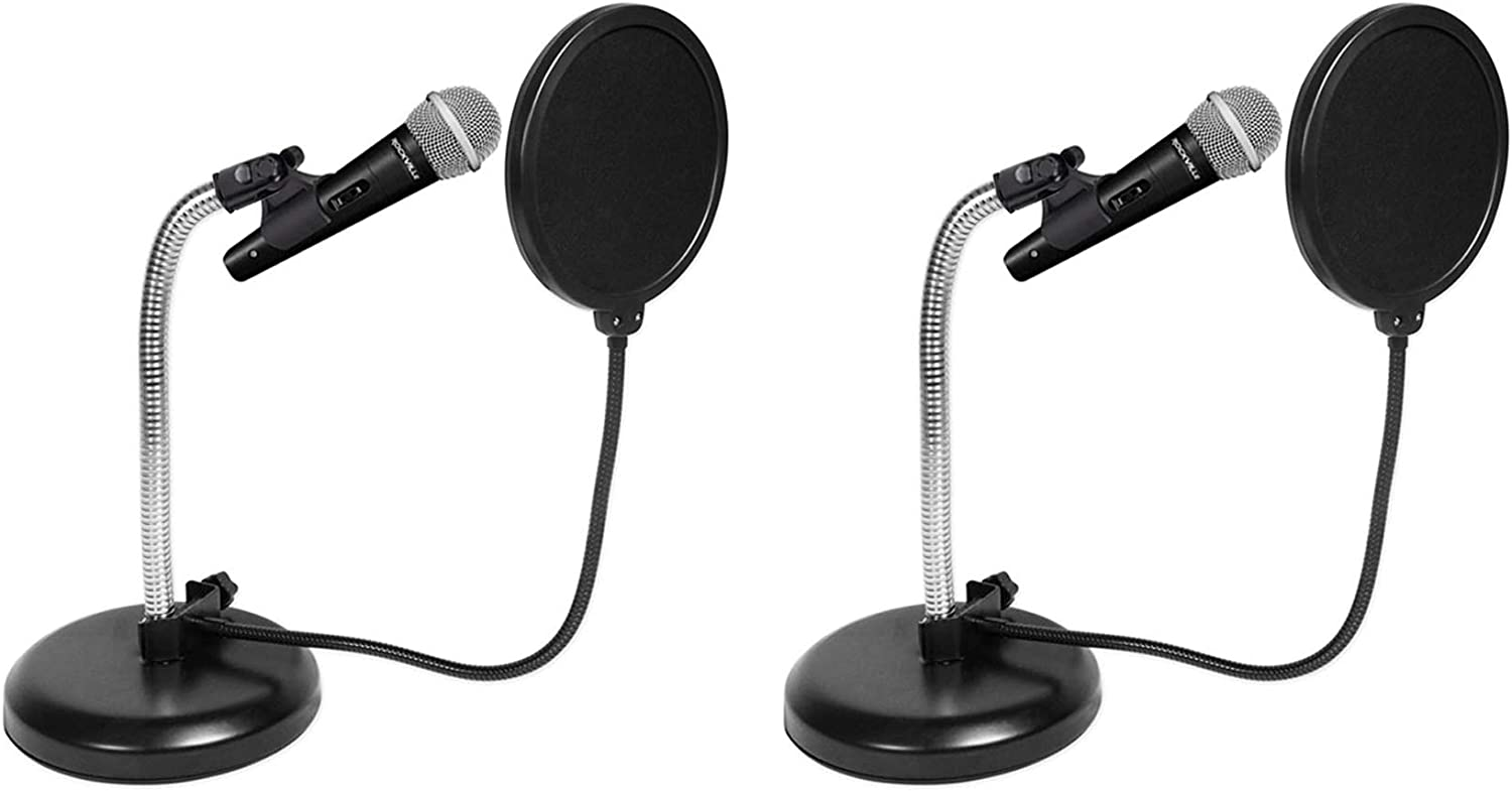 2) Rockville Microphones+Gooseneck Stands+Pop Filters 4 Recording,Studio,Podcast