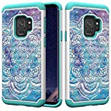 for S9 Samsung Glitter Case and Screen Protector,QFFUN Bling Crystal Diamonds Soft Silicone Hard Plastic Back Hybrid Double Layer 2 in 1 Anti-Scratch Protective Cover - Mandala