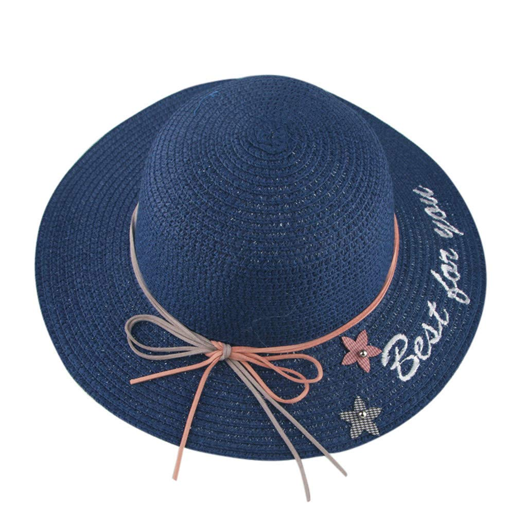 Little Kids Sun Protection Hats,Jchen Summer Baby Kids Girls Ribbons Breathable Hat Straw Hat Kids Bucket Hat Cap for 2-9 Y (Navy)