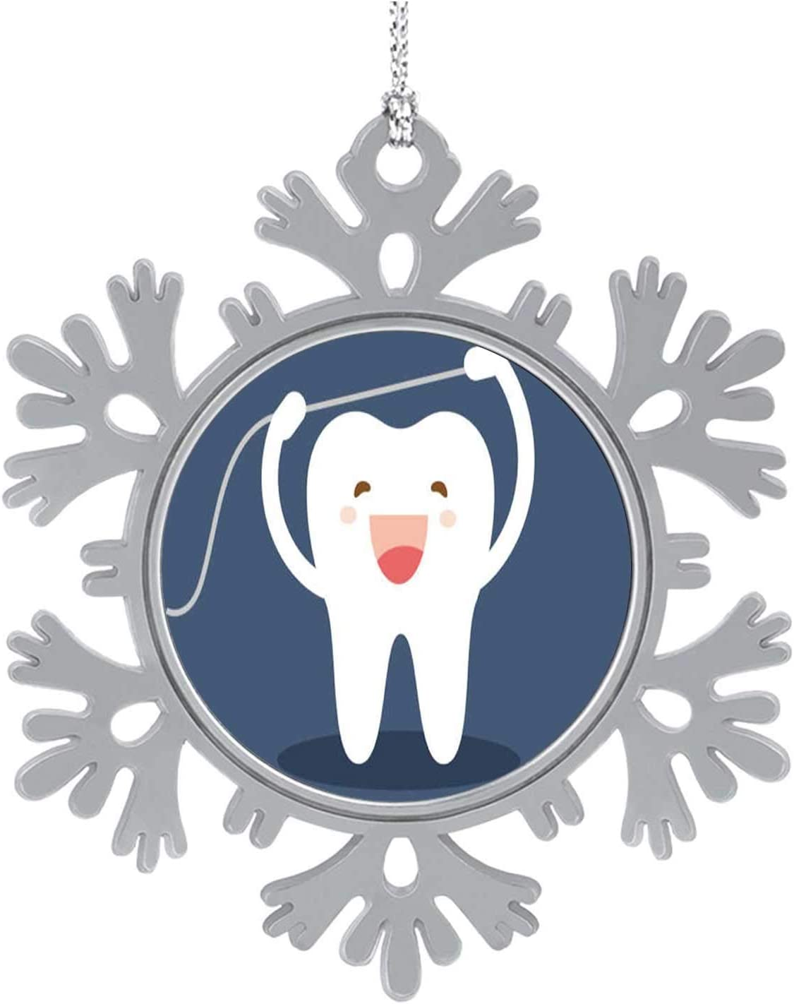 Happy tooth icon.Cute characters.Brushing teeth flossing.Dental personage-.Oral hygiene,Hanging Ornament Decoration Kit,Hanging for Xmas Holiday Party Decor teeth cleaning.Flat - on the theme