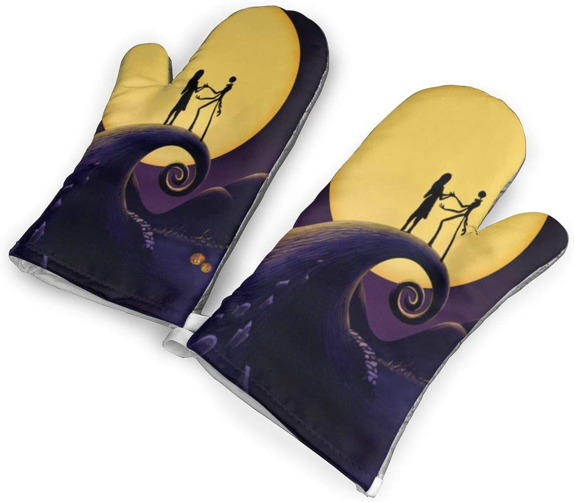 TMVFPYR Halloween Town Nightmare Before Christmas Oven Mitts, Non-Slip Silicone Oven Mitts, Extra Long Kitchen Mitts, Heat Resistant to 500Fahrenheit Degrees Kitchen Oven Gloves