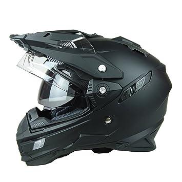 MATEROP Cascos de Moto para Hombre Motocorss Racing Moto Off Road Helmets Matte Black M