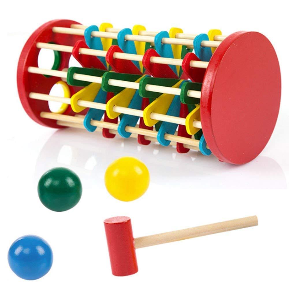 Uteruik Toddler Kids Vintage in Legno Giocattoli Knock Ball sulla scaletta Giocattolo educativo Gift