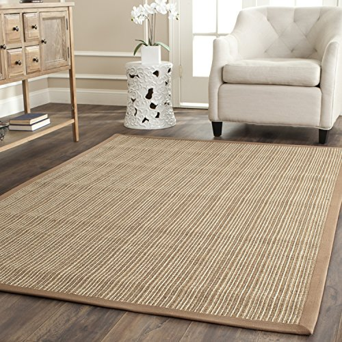 Safavieh Natural Fiber Collection NF442D Martinique Stripe Tan Sisal Area Rug (9' x 12') (Rug Stripes Seagrass)