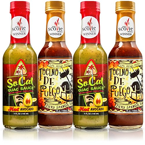 Fiery Spanish Bacon -and- Hot Avocado Sauce| Tocino de Fuego and SoCal Guac Sauce|20 fl oz total| 4-pack | Gourmet Gift Box | Spicy Artisan Sauce Pairing by SoCal Hot Sauce and Jak Jeckel Pepper Sauce