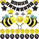 Cute Cartoon Bees Birthday Party Supplies, Happy Birthday Decoration Set With Sunflower and Five & Four-Pointed Star Foil Balloons Yellow And White Latex Balloons, Full Birthday Set 45PCS For Birthday Party