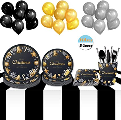 Happy New Year Black and Gold Party Supplies Pack For 20 Guests With New Years Paper Plates Tablecover Champagne Flutes and Balloons Napkins Happy New Year Glitter Banner