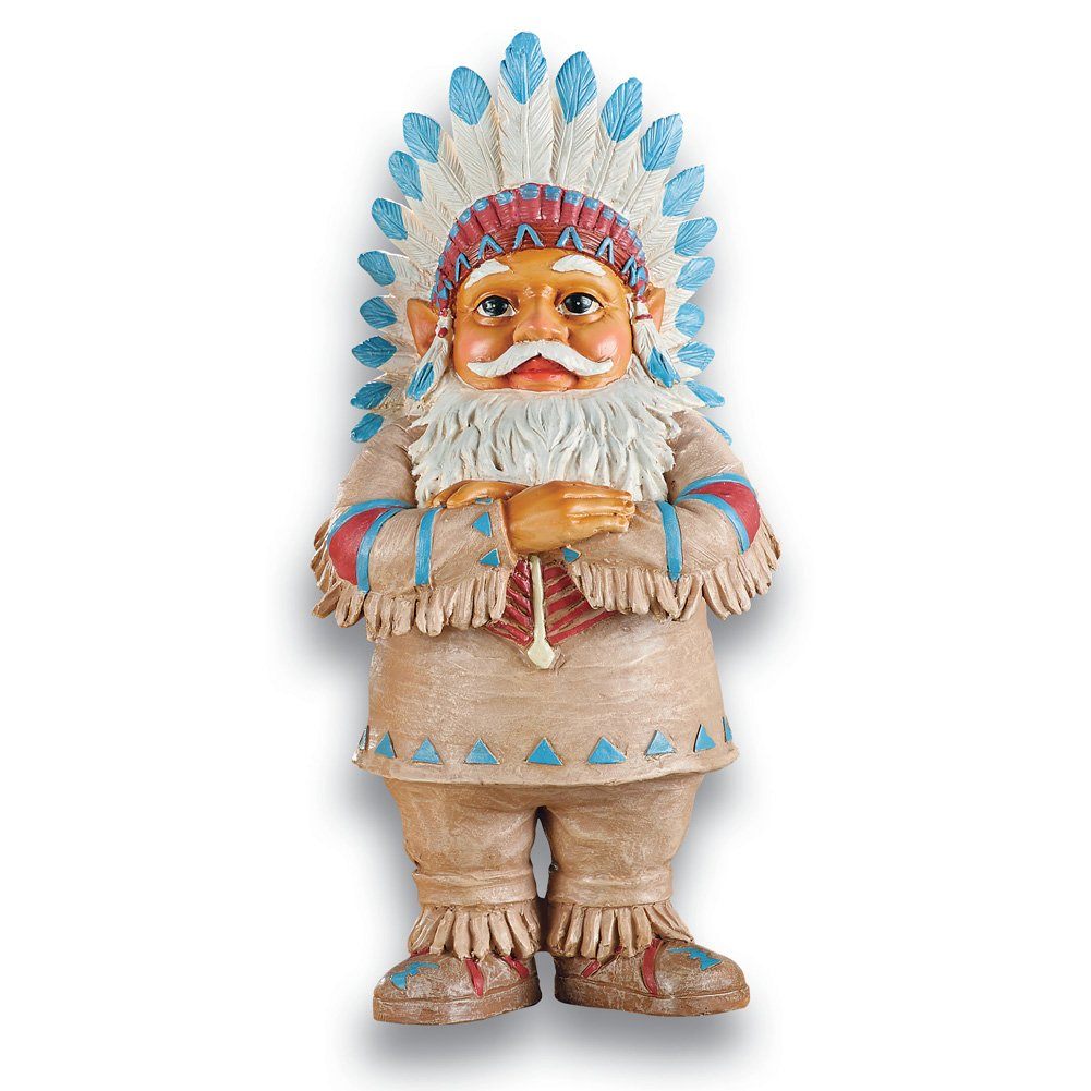 Collections Etc Native American Garden Gnomes Outdoor Southwestern Decor, Chief