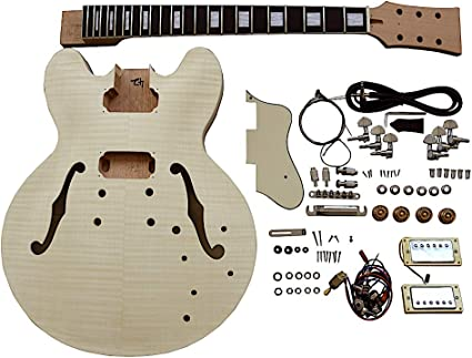 Semi Hollow Electric Guitar Diy Kit Es230 Chrome Hardware And Cream Fittings Amazon Co Uk Musical Instruments