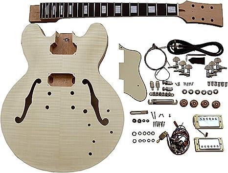 Kit de bricolaje para guitarra eléctrica semihueca ES230 con herrajes cromados y accesorios de color crema: Amazon.es: Instrumentos musicales