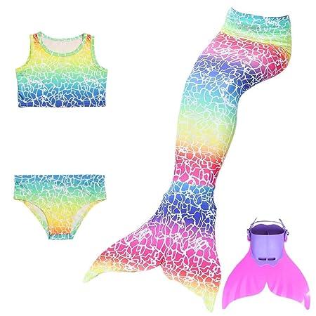 KJGFD Sirena Cola Swimmable Princesa Bikini Monofin Set ...