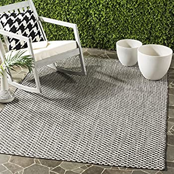 "Safavieh Courtyard Collection CY8653-37621 Black and Light Grey Square Indoor/ Outdoor Area Rug (67"" Square)"