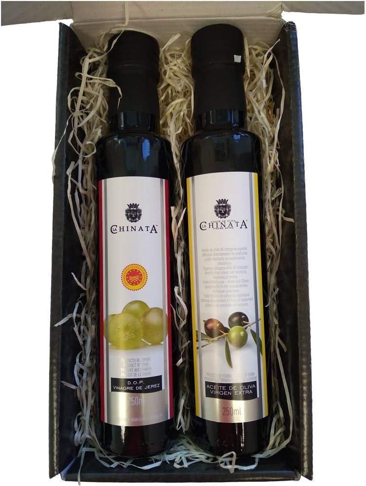 Cajita Regalo con Aceite de Oliva Virgen Extra y Vinagre de Jerez 250 ml (cristal) en caja de cartón negra con frase: Amazon.es: Alimentación y bebidas