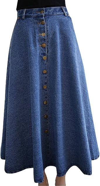 ZhuiKun Mujers Faldas Largas de Fiesta Denim Falda de Mezclilla ...
