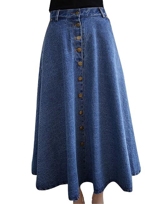 c727b2a63 ZhuiKun Mujers Faldas Largas de Fiesta Denim Falda de Mezclilla Jean ...