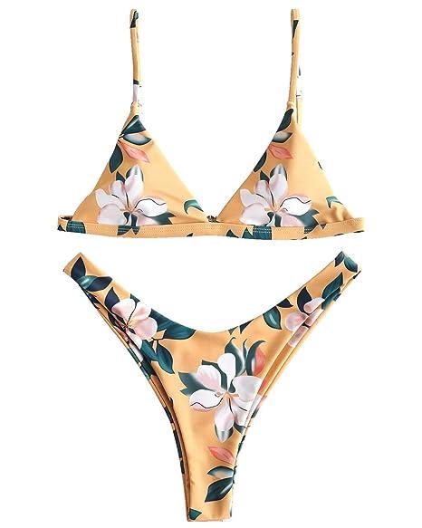 c219d159ce Amazon.com: ZAFUL Women Sexy Leaf Print Padded Push-up Bandage Bikini Set  Bathing Suit Swimsuit Coverups: Clothing