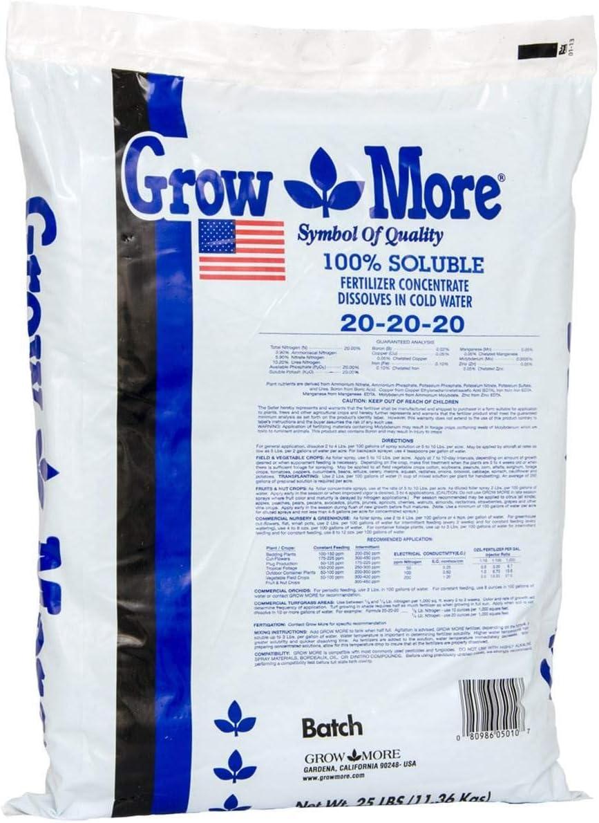 Grow More 5010 All Purpose Fertilizer 20-20-20, 25-Pound