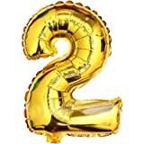 """Babytree Numbers 0-9 Birthday/Party Balloons (2), 40"""", Gold"""