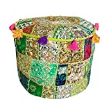 Indian Round Patchwork Embroidered Ottoman Pouf Ethnic Indian Decorative Cotton Pouffe,Designer Ottoman Pouf, Home Living Footstool Chair Cover, Bohemian Pouf