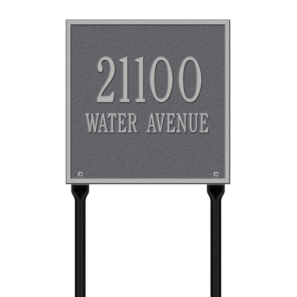 Whitehall製品Square標準Lawn複線アドレスPlaque – ピューター/シルバー B00A3RC26A