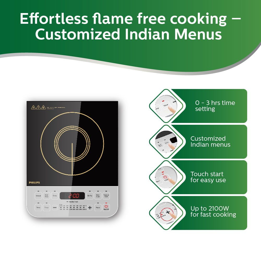 Buy Philips Viva Collection Hd4928 01 2100 Watt Induction Cooktop Cooker Circuit Diagram As Well Wiring Also Air Black Online At Low Prices In India