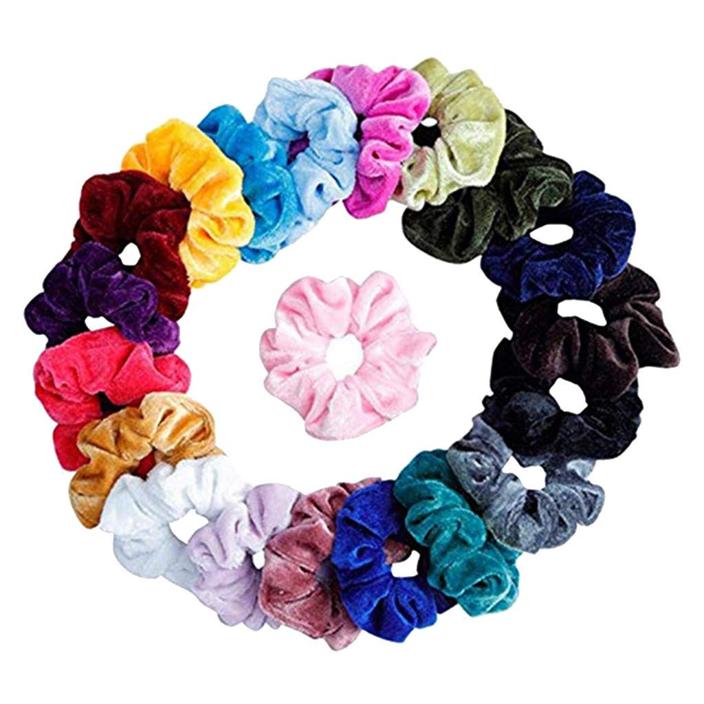 KNDDYY 20 Pcs Hair Scrunchies Velvet Elastic Hair Bands Scrunchy Hair Ties Ropes Scrunchie Hair Accessories (20PC)