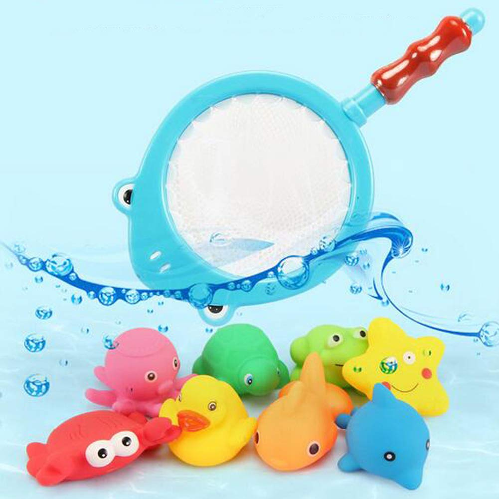 Agirlvct 9 Pcs Bath Toys Sets with Fishing Net,Floating Squirts Water Game in Bathtub Bathroom Pool Time for Kids Toddler Baby Boys Girls