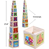 Joqutoys Wooden Stacking Cubes Nesting Boxes with Number and Letter Blocks Toys for Kids 10 Pieces