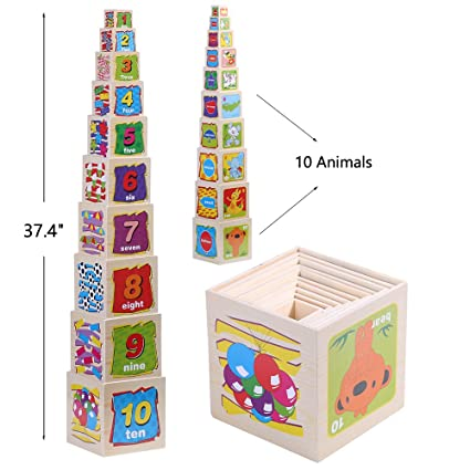 Jacootoys Wooden Stacking Cubes Nesting Blocks Toys For Kids 10 Pieces